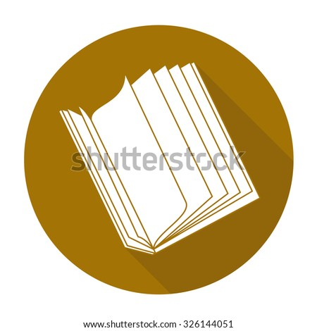 White vector book on color circle background.