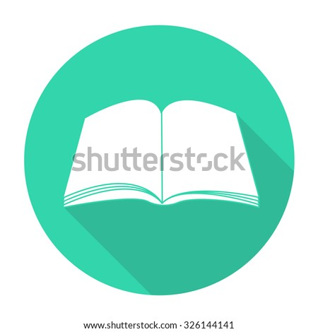 White vector book on color circle background. - stock vector