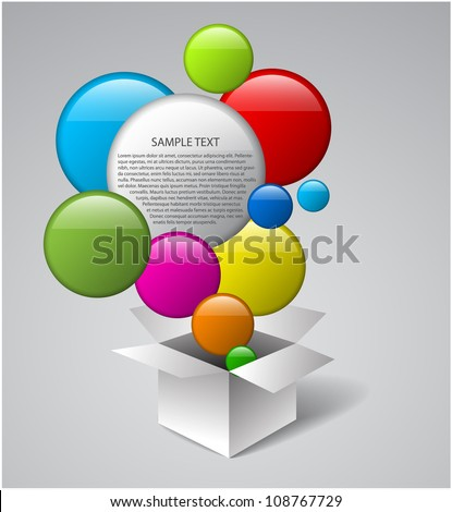 White vector box full of colorful bubbles - stock vector