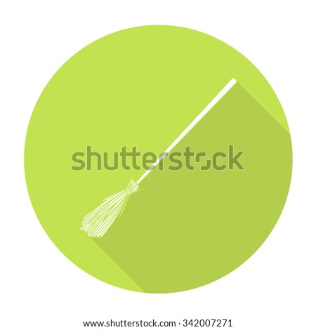 White vector broom on color circle background. - stock vector