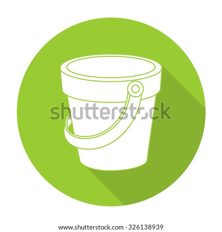 White vector bucket on color circle background.