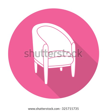 White vector chair on color circle background. - stock vector