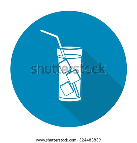 White vector cold water on color circle background. - stock vector
