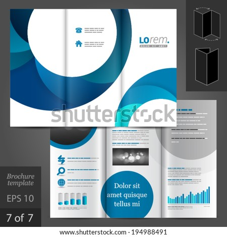 White vector creative brochure template design with blue round elements. EPS 10 - stock vector