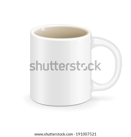 white vector cup object drink ceramic - stock vector