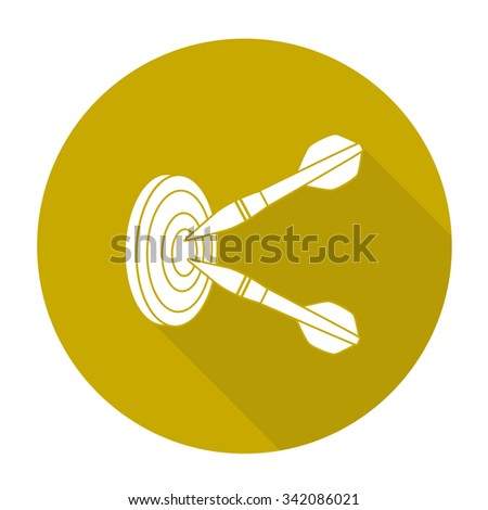 White vector darts on color circle background. - stock vector