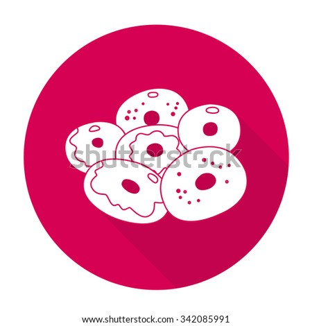 White vector donut on color circle background. - stock vector