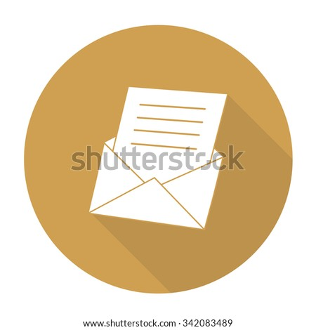 White vector envelopes on color circle background. - stock vector