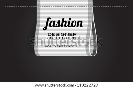 White vector fashion textured ribbon clothing label - stock vector