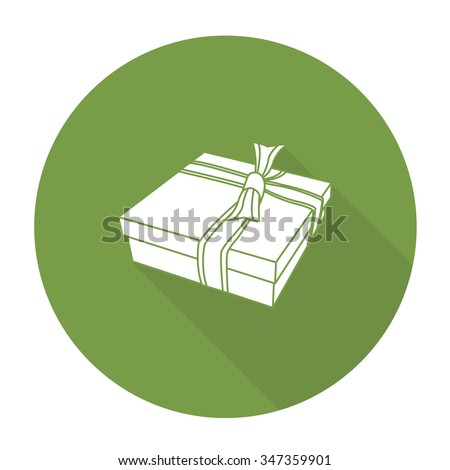 White vector gift box on color circle background. - stock vector
