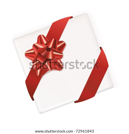 White vector gift box with bow and ribbon