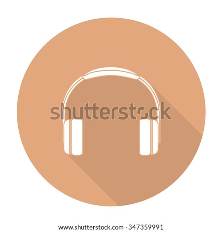 White vector Headphone on color circle background. - stock vector