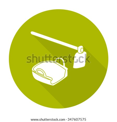 White vector hoe and bucket on color circle background. - stock vector