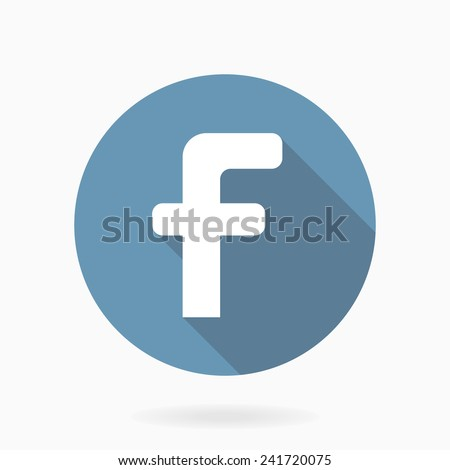 White vector letter F in the blue circle. Flat design and long shadow - stock vector