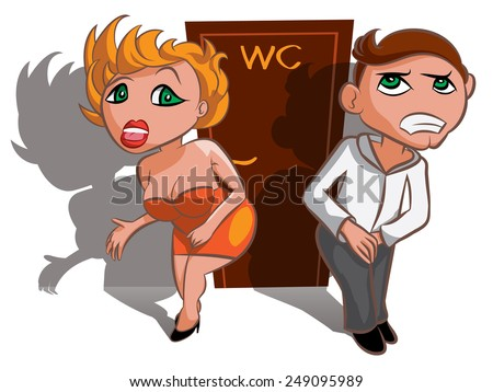 White vector man and woman waiting near WC, toilet sign - stock vector