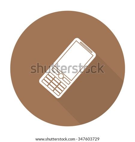 White vector mobile phone on color circle background. - stock vector