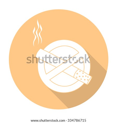 White vector no smoking sign on color circle background. - stock vector