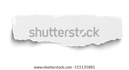 White vector oblong paper tear with soft shadow isolated on white background