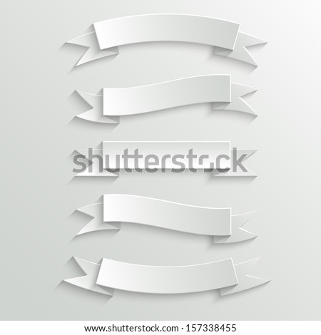 White Vector Paper Banners and Ribbons with Shadow - stock vector