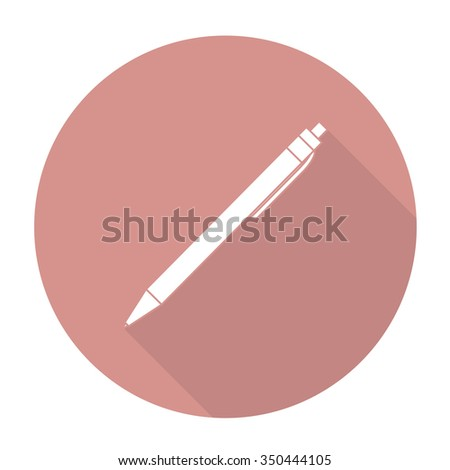 White vector pen on color circle background. - stock vector