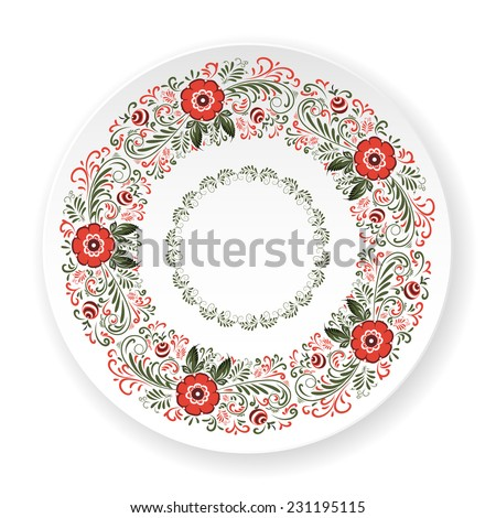 White vector plate with red Gorodets painting. Russian traditional ornament - stock vector