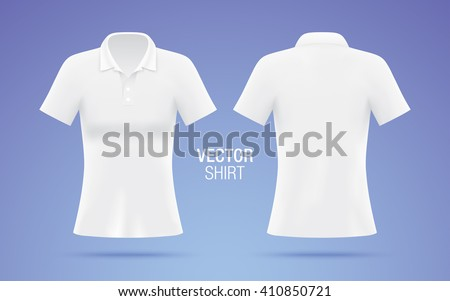 White vector polo shirt. Women's shirt template isolated on purple background. Realistic mockup. - stock vector