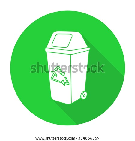 White vector recycle bin on color circle background. - stock vector