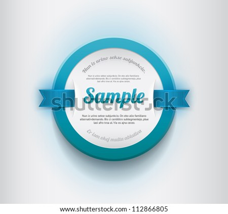 White vector round plastic badge / banner with blue border and blue ribbons - stock vector