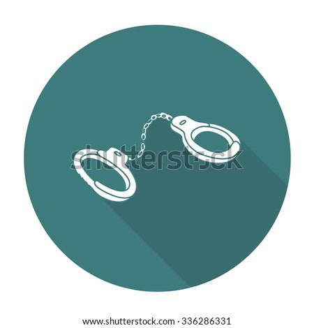 White vector shackles on color circle background. - stock vector