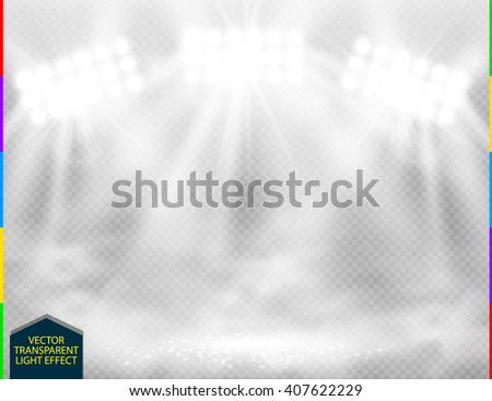 White vector spotlight ith smoke light effect on transparent background. Concert scene with sparks and fog illuminated by glow ray. Stadium cloudiness projector. Mist show room - stock vector