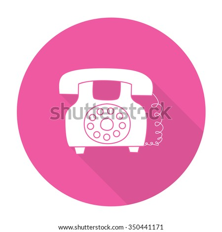 White vector telephone on color circle background. - stock vector