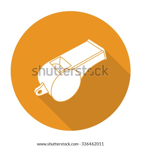 White vector whistle on color circle background. - stock vector