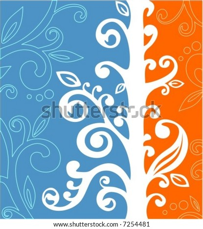 White vegetative pattern on an orange and blue background with deciduous silhouettes.