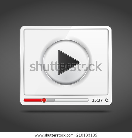 White video player icon, vector eps10 illustration