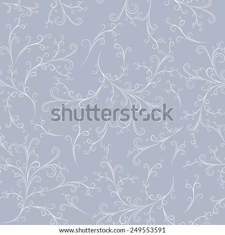white vintage lines  seamless pattern on light grey background, vector illustration - stock vector