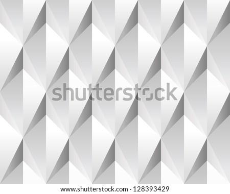 White volumetric abstract texture (seamless). Modern concept pattern (rhombus). - stock vector