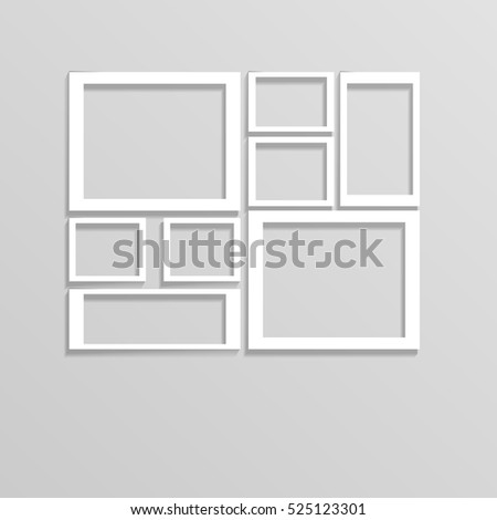 White Wall Frames Collage Mockup Eps Vector de stock525123301 ...
