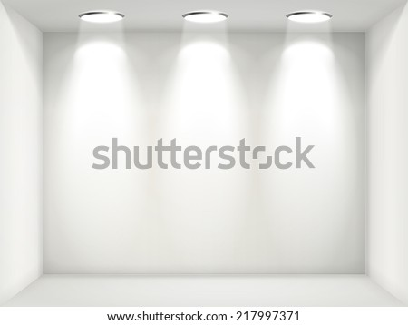 white wall with empty niche for exhibition  - stock vector