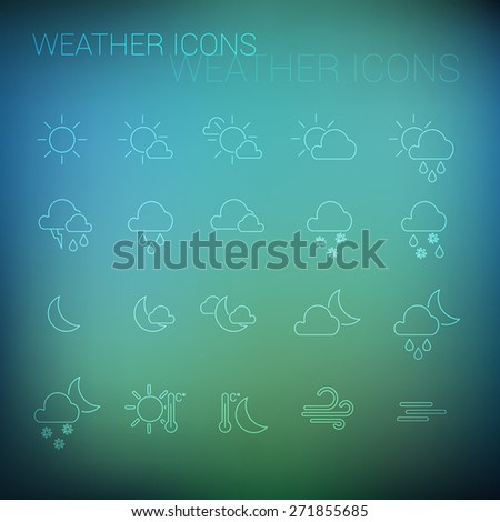White weather icon set  and blurred background - stock vector