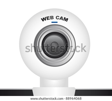 white web cam over white background. vector