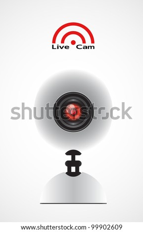 white Web camera isolated on white background broadcasting live - stock vector