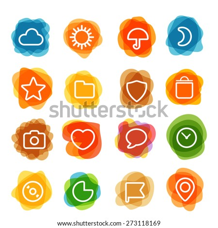 White web interface icons clip-art on color blots. Design elements - stock vector