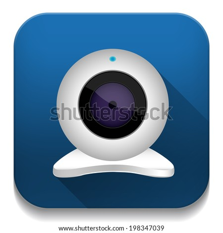 white webcam icon With long shadow over app button