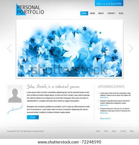 white website template - portfolio presentation for artists, designers,  photographers - stock vector