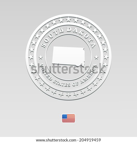 white welt label with map of South Dakota, vector - stock vector