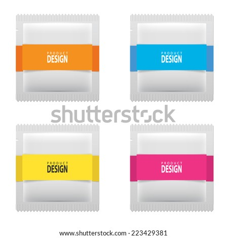 White wet wipes package vector illustration - stock vector