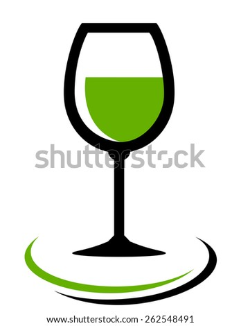 white wine glass icon on white background  - stock vector