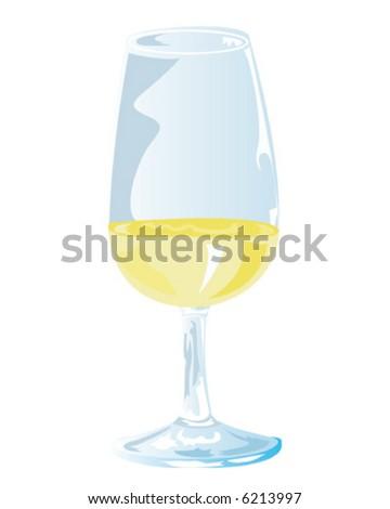White Wine Tasting Glass - stock vector