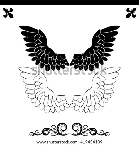White wings icon. Simple black vector symbol. Logo for web. Image for business.