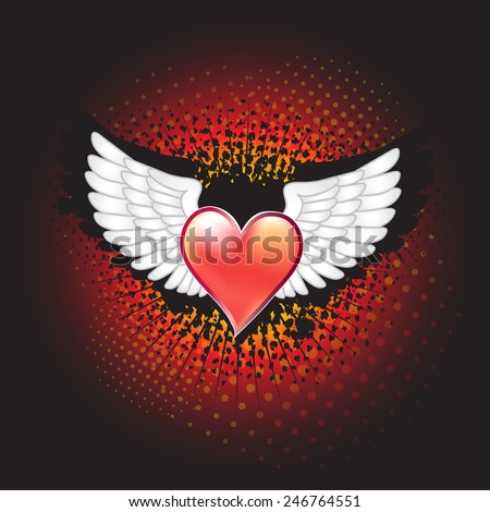 White wings with decorative red heart on grunge background - stock vector